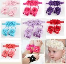 flower hair band 3 pcs sets children chiffon flower hair band foot flower headband
