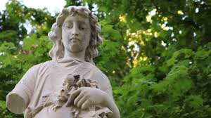 free hd stock footage of a graveyard statue with broken arm