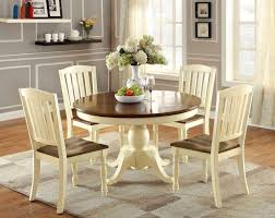 66 round vintage white cherry dining table set
