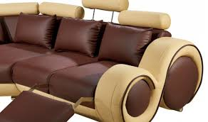 Modern Leather Sectional Sofas Divani Casa 4087 Modern Bonded Leather Sectional Sofa In Brown