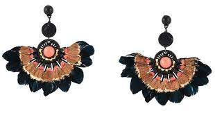 gas earrings lyst gas bijoux gaia feather earrings in black