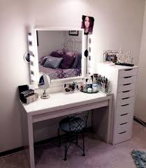Contemporary Makeup Vanity Bedroom Rectangle White Vanity Table With Lighted Wall Mounted