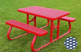 commercial picnic table plastisol coated expanded metal