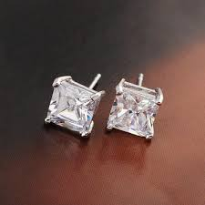 clear earrings square cut clear earrings 18k white gold filled womens mens sud