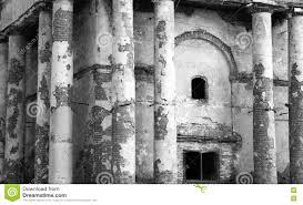 ancient ruins old abandoned building black and white photo stock