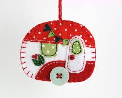 felt caravan ornament trailer ornament puffin patchwork