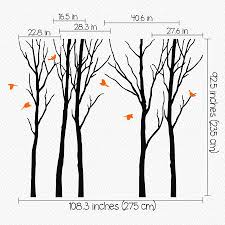 woodland trees with birds flying wall sticker by wall