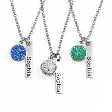 name tag necklace engraved jewelry necklaces druzy pendant name tag necklace