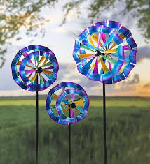 new 3 pack rainbow wind spinner garden yard outdoor decor kinetic