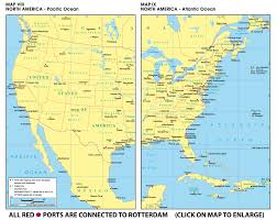 North America On Map by Www Rotterdamtransport Com World Port Maps