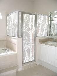 big bamboo privacy film shown on a shower enclosure looks