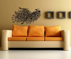 abstract bird wall decal wall mural with orange and brown sofa for