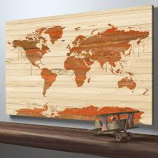 World Map Art Print by Map Art World Map On Wood Texture Canvas Print Wooden World