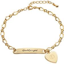 personalized gold bracelet personalized women s gold tone s girl engraveable heart id