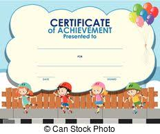 art award certificate with boy as hero illustration vector