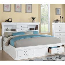 Queen Storage Beds With Drawers Philippe White Queen Storage Bed Bookcase Drawers