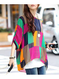 chiffon blouses for colorful irregular plaid larger size chiffon top e25203 cilory com