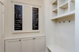 Beadboard Bench - off white mudroom with chalkboard message boards transitional