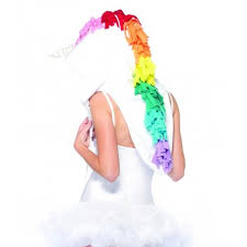 white fleece unicorn costume hood with horn and rainbow main