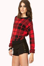 plaid sweater lyst forever 21 standout plaid sweater in