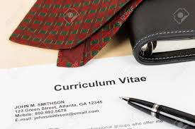 curriculum vitae or cv with pen organizer and neck tie document