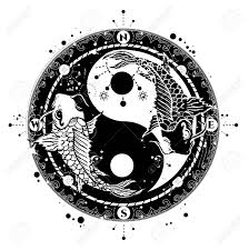 yin and yang tattoo art vector two japanese carp boho style