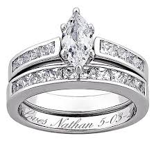 engrave wedding ring sterling silver marquise 5 67ctw cz 2 engraved wedding ring