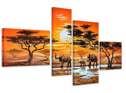 elephant decor for living room 4 panels framed landscape
