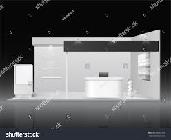 white creative exhibition stand design booth stock vector