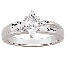 engrave wedding ring marquise cz solitaire and diamond accented name engraved wedding