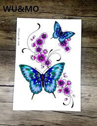 lc2828 21 18cm large sticker bright color butterfly flower