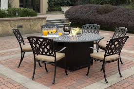 darlee ocean view cast aluminum 7 piece dining set with round