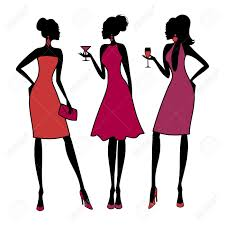 three young fashionable girls at a cocktail party elements are