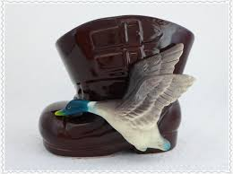 Cowboy Boot Planter by Vintage Duck Planter Figural Boot Planter Mallard Duck