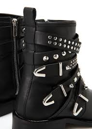 buckle biker boots mango buckle leather ankle boots in black lyst