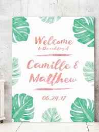 tropical wedding theme tropical wedding welcome sign with watercolor palm leaves for