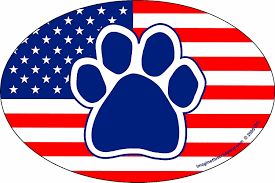 American Flag Magnet Imagine This Company American Flag Paw Print Magnet Oval Shape
