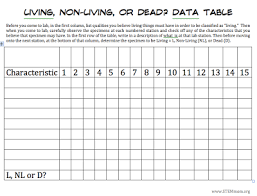 Characteristics Of Living Things Worksheet Middle Stem Living Non Living Vs Dead Lab