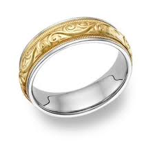 two tone mens wedding bands apples of gold paisley ring 14k two tone men s wedding band