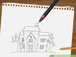 draw haunted house 15 steps pictures wikihow