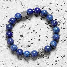 bead bracelet charm images Silver thai charm 10mm blue agate beads bracelet funky bead jpg