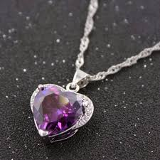 necklace with purple stone images Uloveido rhinestone heart pendant silver color necklaces jpg