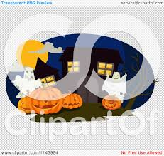 halloween ghost and haunted house background cartoon of a spooky haunted house with halloween ghosts and