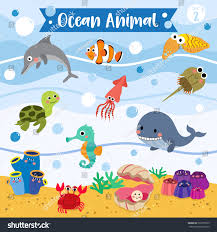ocean animals cartoon underwater background set stock vector