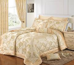 Jacquard Bedding Sets Gold Colour Stylish Floral Jacquard Luxury Embellished