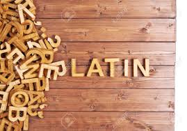word latin made with block wooden letters next to a pile of other