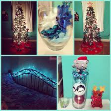 and blue bows and ornaments in glass vases bed