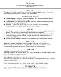 Resume Org Management Trainee Resume Sample Http Exampleresumecv Org