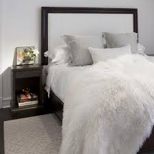 Fur Bed Set Furniture Modern Bedroom Design With Four Poster Bed And Faux Fur