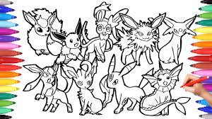 pokemon coloring pages eevee evolution pokemon coloring book fun